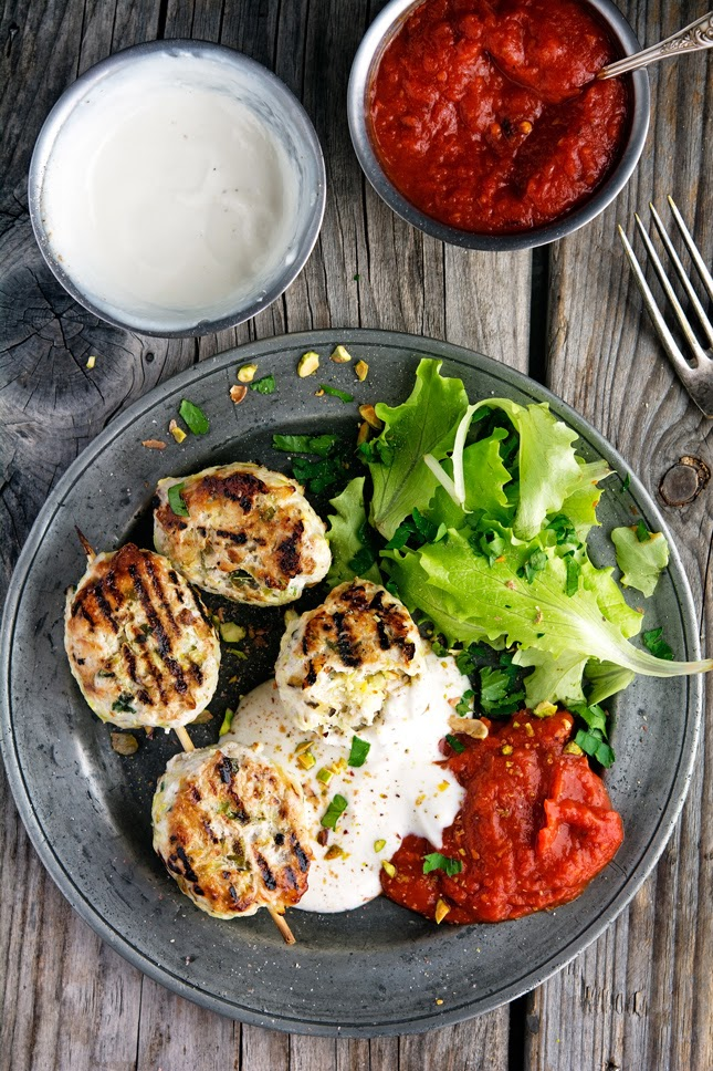 Turkey Koftas with Roasted Red Chili Sauce and Tahini Yogurt