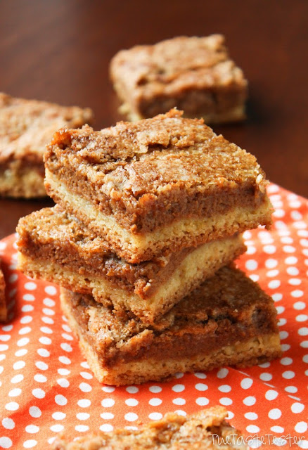 Pumpkin Dessert Bars with Cinnamon Crunch Topping: pumpkin pie in bar form with a cake mix crust, pumpkin custard filling, and a cinnamon cake-mix crunch topping. So easy to make!