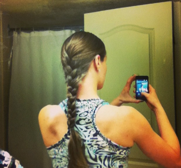 French braid and workout clothes