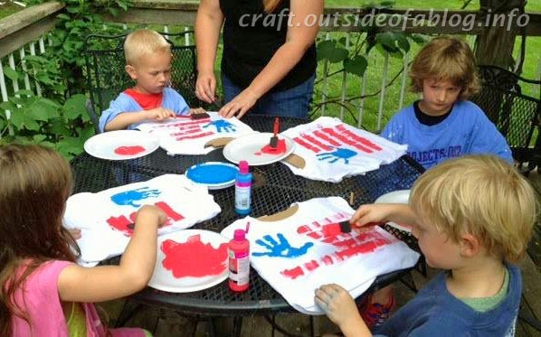 Kids Painting Patriotic T-Shirts