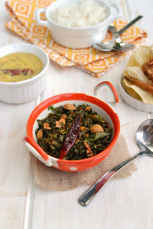 Thotakoora Wadiyala Kura (Amaranth Leaves Curry with Sundried Lentil wafers)