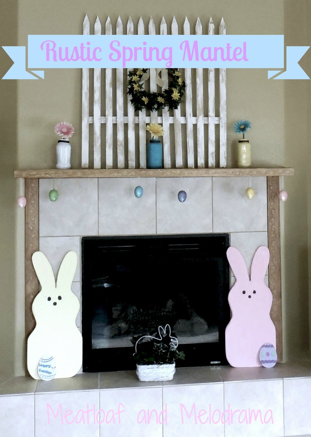 Spring fireplace mantel with flowers, Easter eggs, picket fenc, bunnies