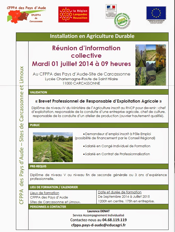 reunion, agriculture durable, responsable, installation, brevet professionnel, exploitation, agricole