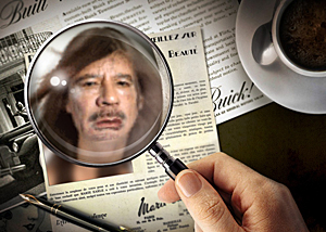 Muammar Gaddafi under luppen.