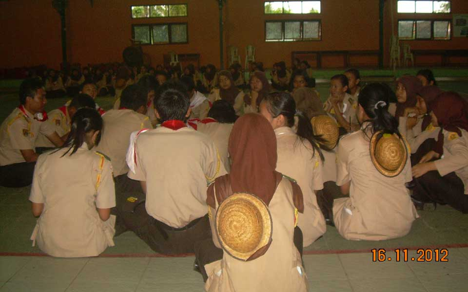 Evaluasi kegiatan pada agenda hari Jum'at 16 November 2012 dilaksanakan bersamaan dengan presensi Sangga Kautaman (Saman)