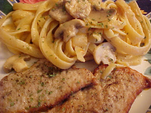 Escalopes de veau avec fettuccine crmeux aux champignons