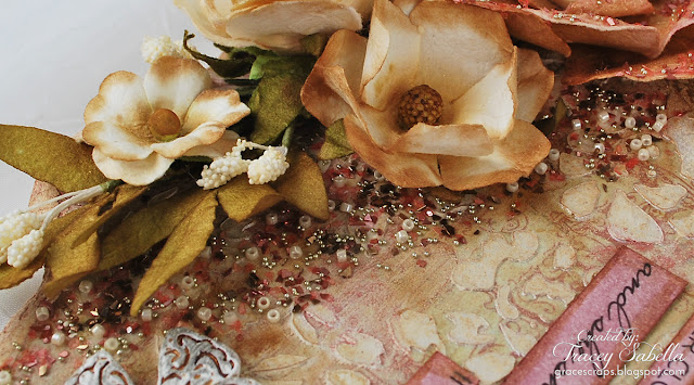 Scripture MIxed Media Art by Tracey Sabella for Scraps of Elegance, Microbeads and Glitter