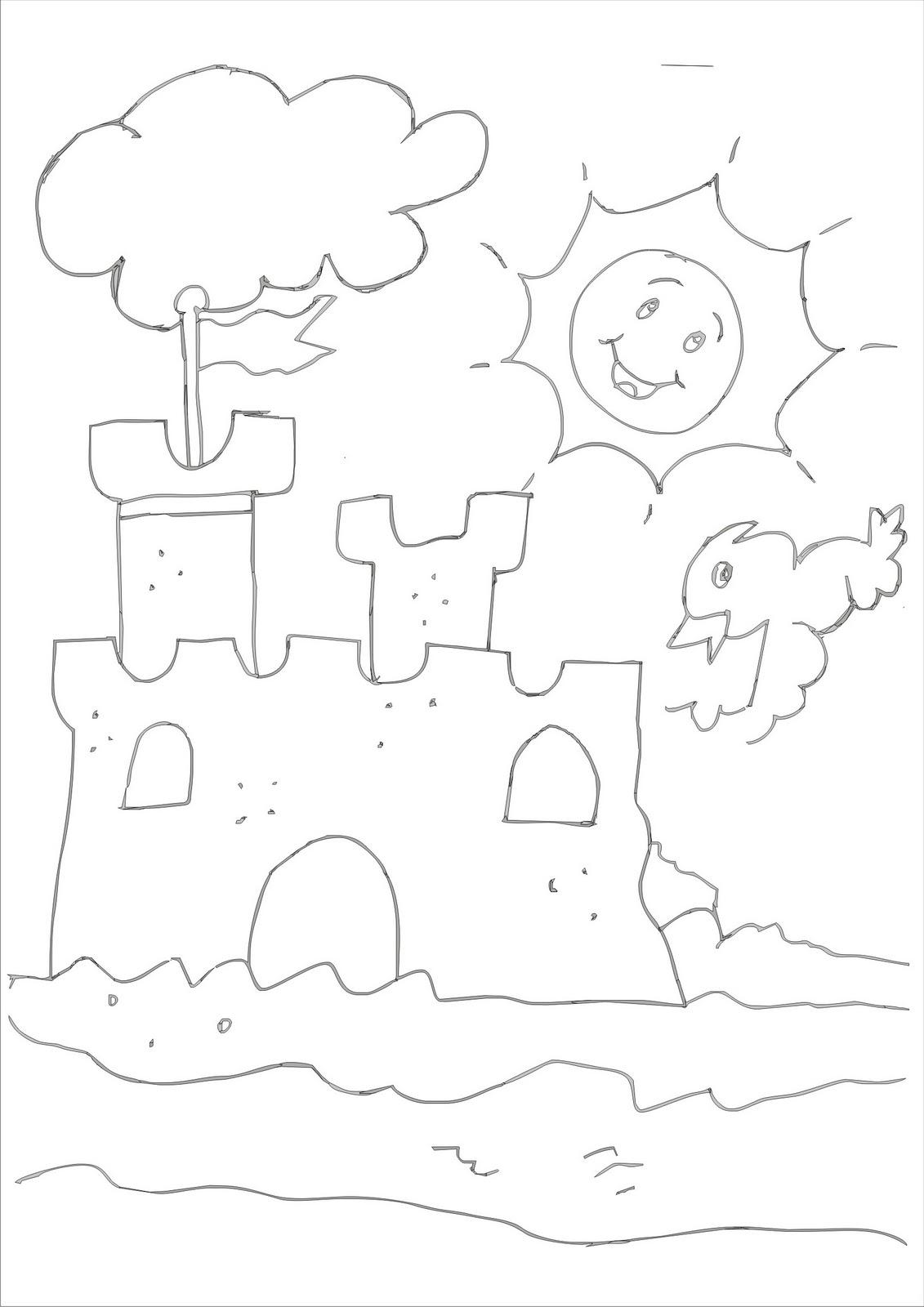 desenhos para colorir desenho para pintar de castelo de areia