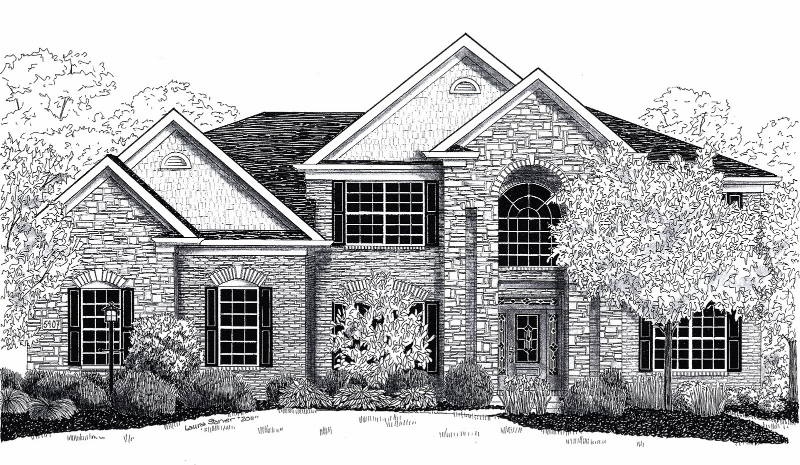Crazy linez house drawings for Two story house drawing