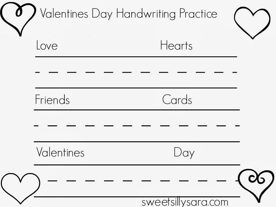 Sweet Silly Sara Valentines Day Handwriting Practice Worksheet