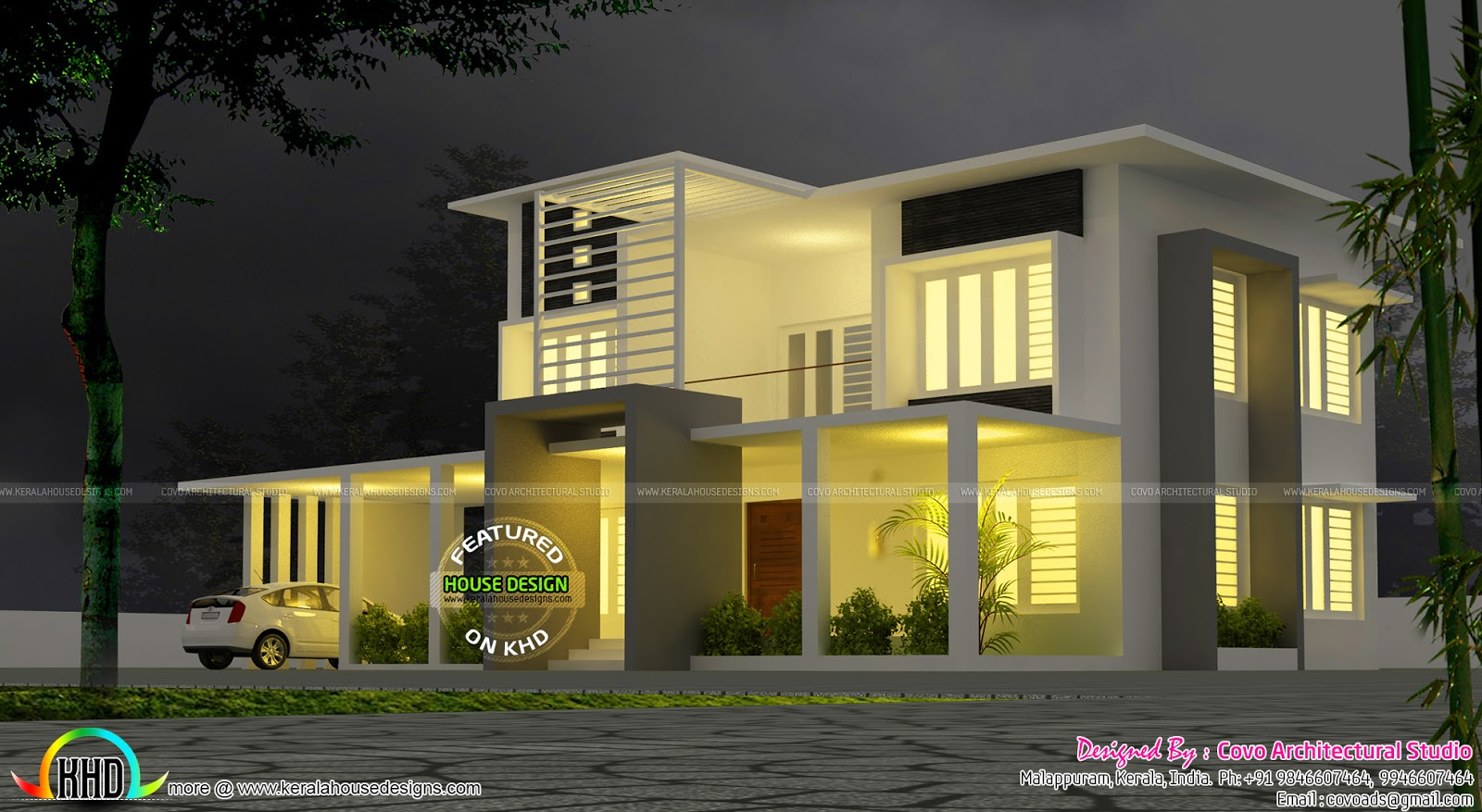 5 bedroom modern contemporary villa kerala home design for Modern kerala style house plans with photos
