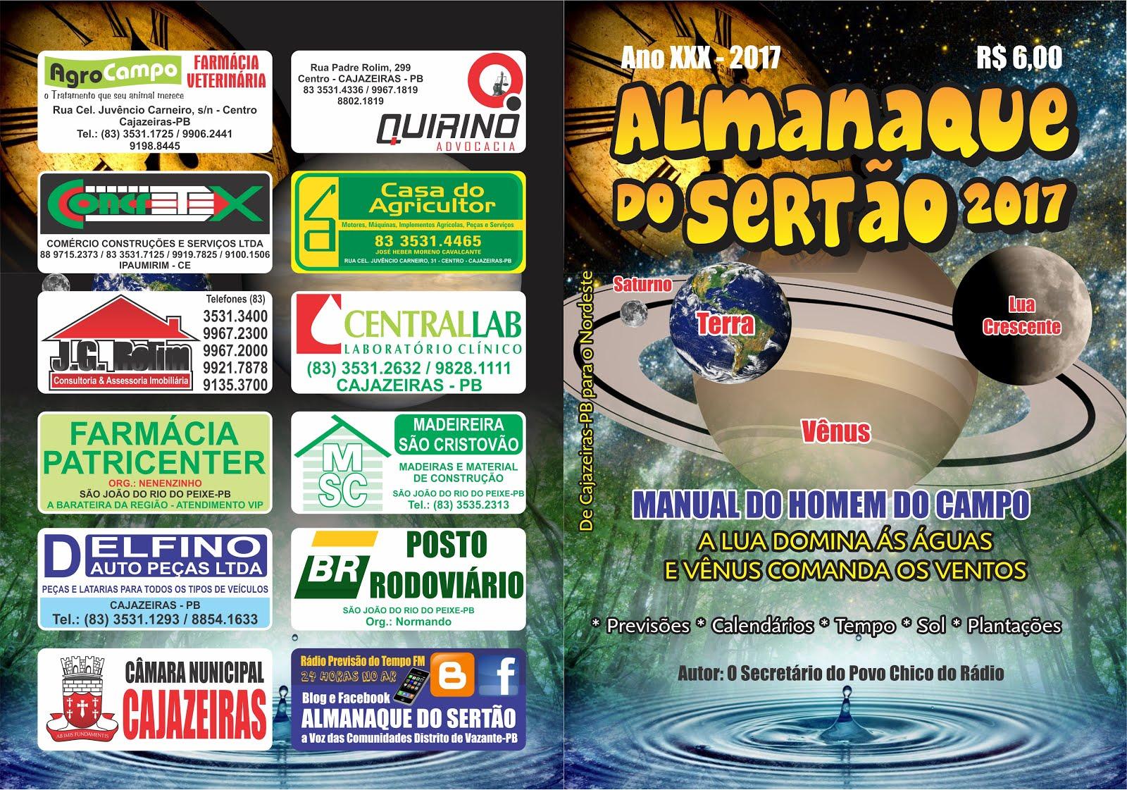 CAPA  UM  É A FRENTE DO  NOSSO FOLHETIM  ALMANAQUE DO SERTÃO ANO 2017