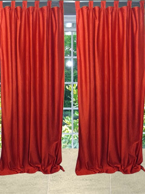 http://www.mogulinterior.com/indian-sari-curtain-orange-tab-top-panel-window-treatment.html