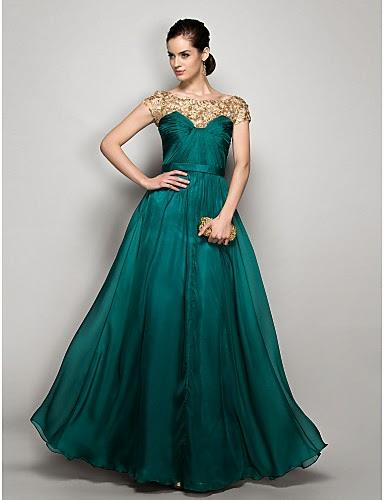 Vestido de noche largo de gasa verde