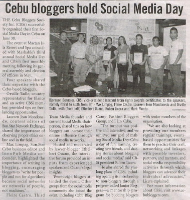 Social Media Day in Cebu was featured in Cebu Daily News