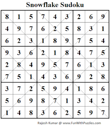 Snowflake Sudoku (Daily Sudoku League #109) Solution