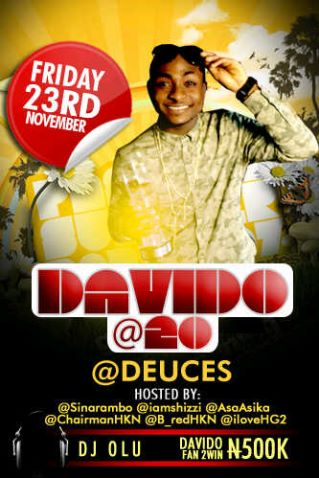Party with Davido at Deuces and enter a chance to win N500,000