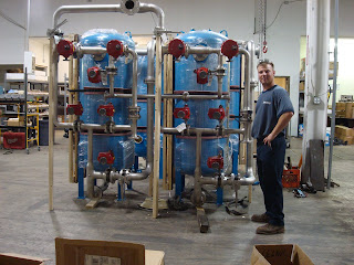 Res-Kem's 300 gpm industrial water softener being prepared for shipment to a major Virginia university.