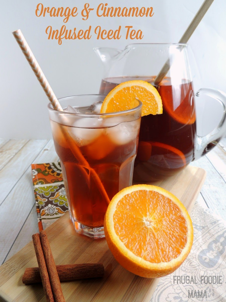 Orange and Cinnamon Infused Iced Tea via thefrugalfoodiemama.com- a low calorie, holiday perfect beverage! #CrystalLightWM #MC #sponsored