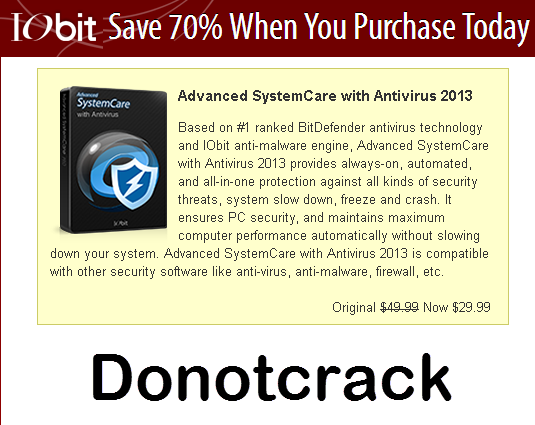 Discount] Advanced SystemCare with Antivirus 2013 | 70% OFF