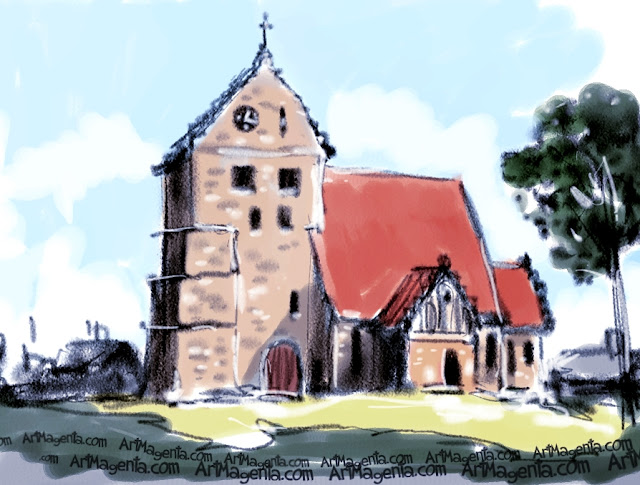 St Nicolai church, Simrishamn is a sketch by artist and illustrator Artmagenta.