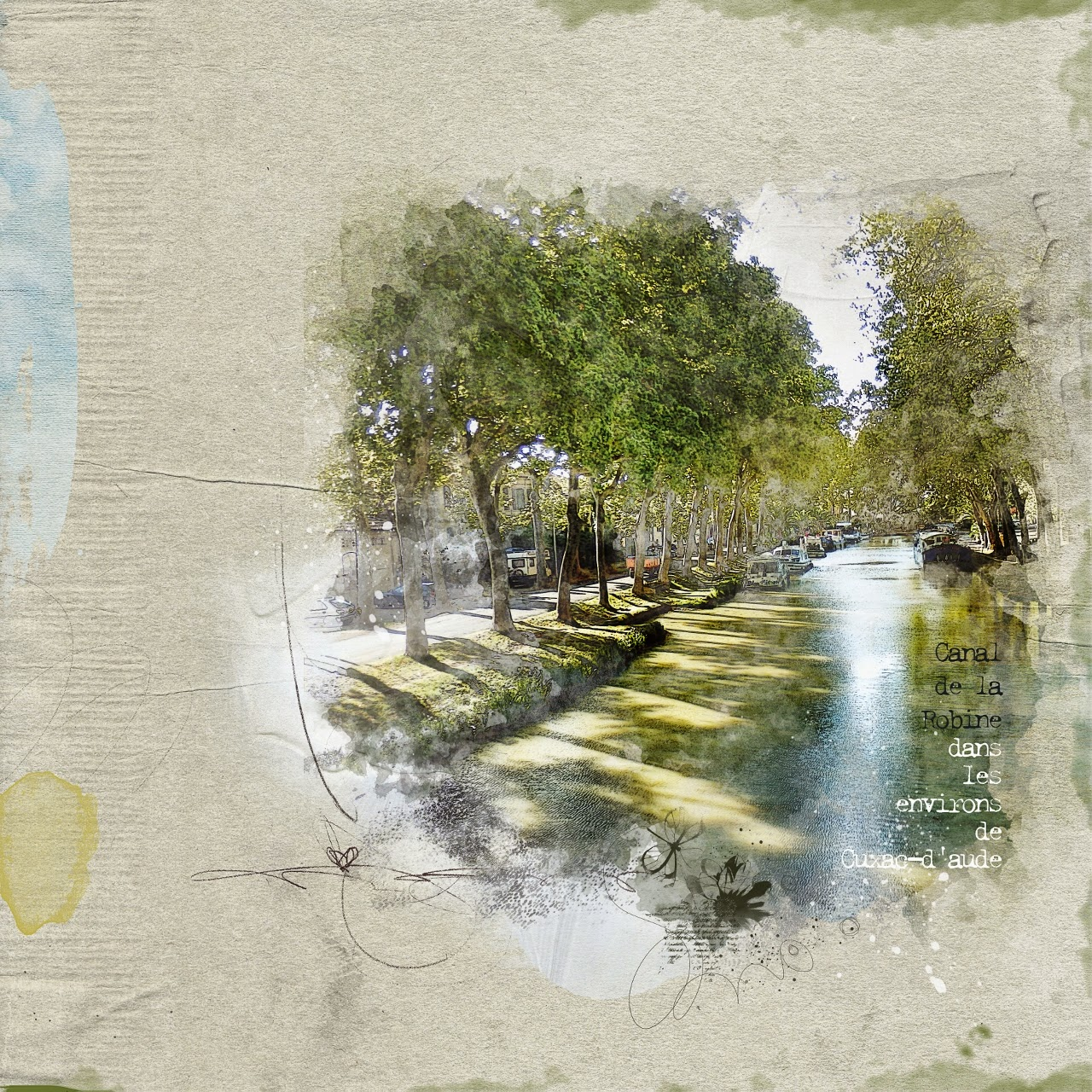 Getting Artsy Canal de la Robine scrap digital clin doeil design