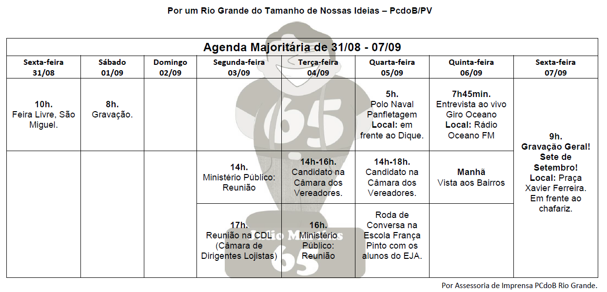 Julio Martins, Agenda, PCdoB