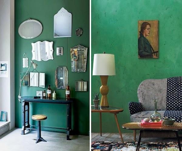 Parete soggiorno verde acqua - Soprammobili per soggiorno ...