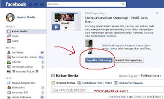 MengAktifkan Facebook kronologi timeline
