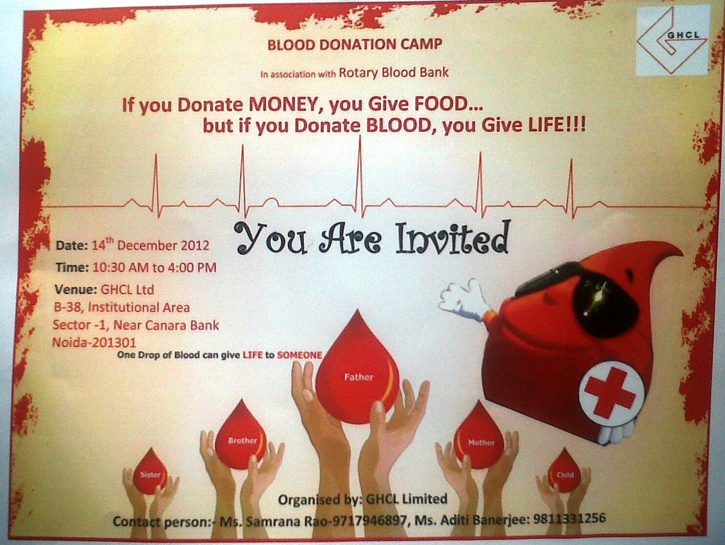 Poster design on blood donation - Blood Donation Camp On 14th December At Sector 1 Noida