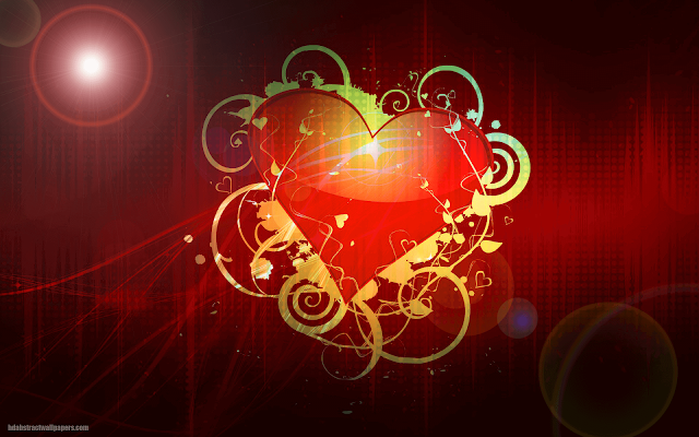 Dark abstract wallpaper with big red love heart