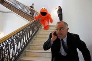 David Brooks chased by muppet
