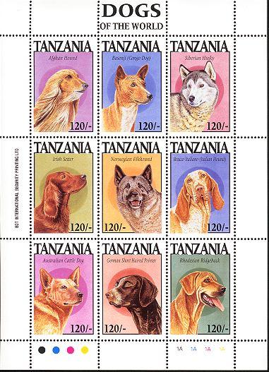 1994年タンザニア連合共和国 アフガン・ハウンド バセンジー シベリアン・ハスキー アイリッシュ・セター ノルウェジアン・エルクハウンド ブラッコ・イタリアーノ オーストラリアン・キャトル・ドッグ ジャーマン・ポインター ローデシアン・リッジバックの切手シート