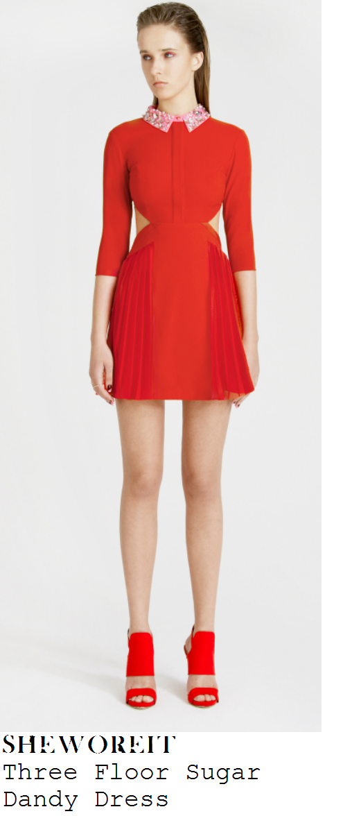lauren-platt-red-pink-crystal-embellished-collar-long-sleeve-cut-out-pleated-dress-x-factor