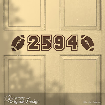 Football Sports Design Custom House Number Vinyl Door Decal