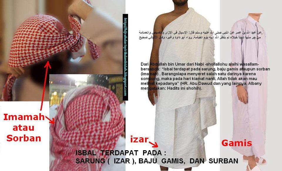 isbal terdapat pada sarung baju gamis ataupun sorban bukan pada