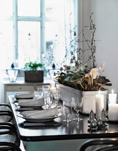 scandinavian table christmas decor