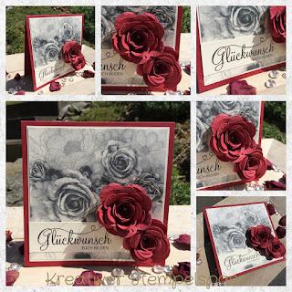 Hochzeitskarte, Rubinenhochzeit, Zeitlos elegant, Rosen