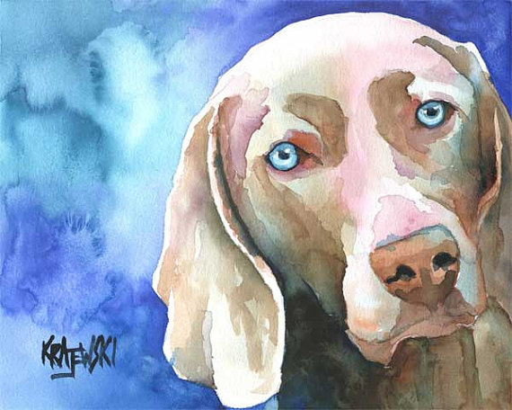 Weimaraner by Ron Krajewski, dog art on Etsy