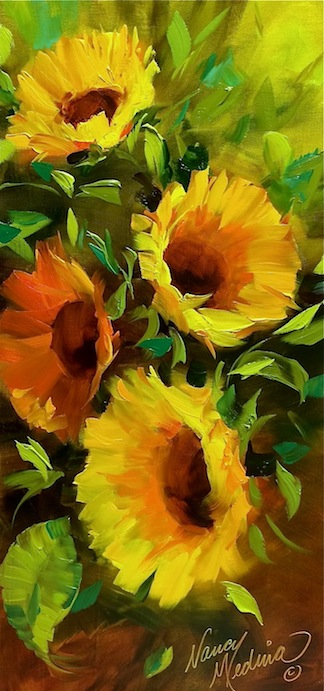 nancy medina art provence breezes sunflower garden flower paintings by nancy medina. Black Bedroom Furniture Sets. Home Design Ideas