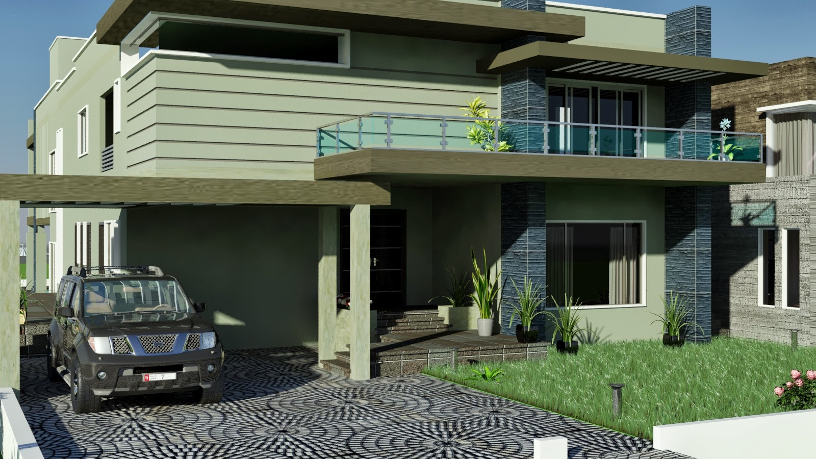 Karachi MODERN CONTEMPORARY House Design with Swimming Plool 3D Front