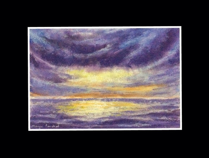 Mixed media painting of a seascape by Manju Panchal