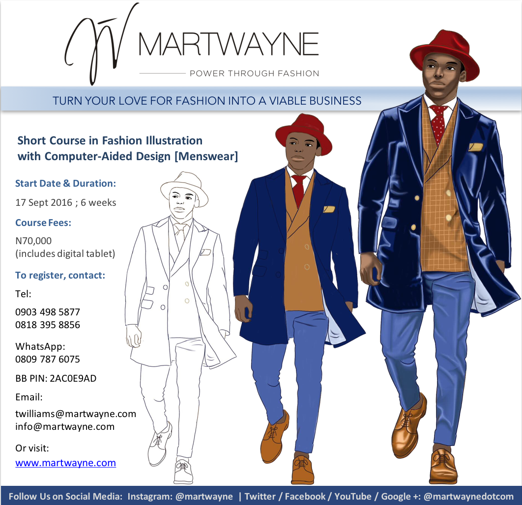 Fashion Illustration with Computer-Aided Design (Menswear) Start Date: 17 September, 2016