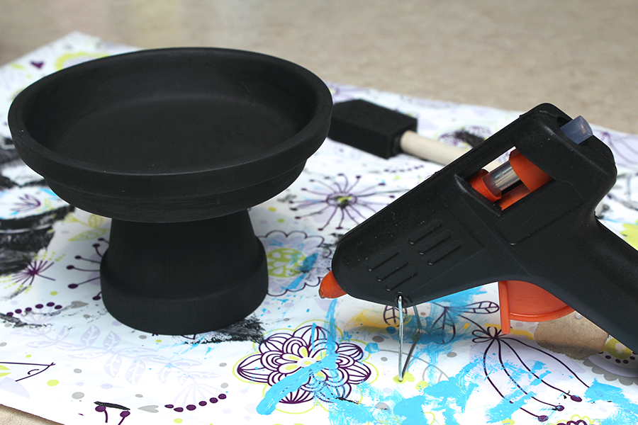 glue saucer on clay pot