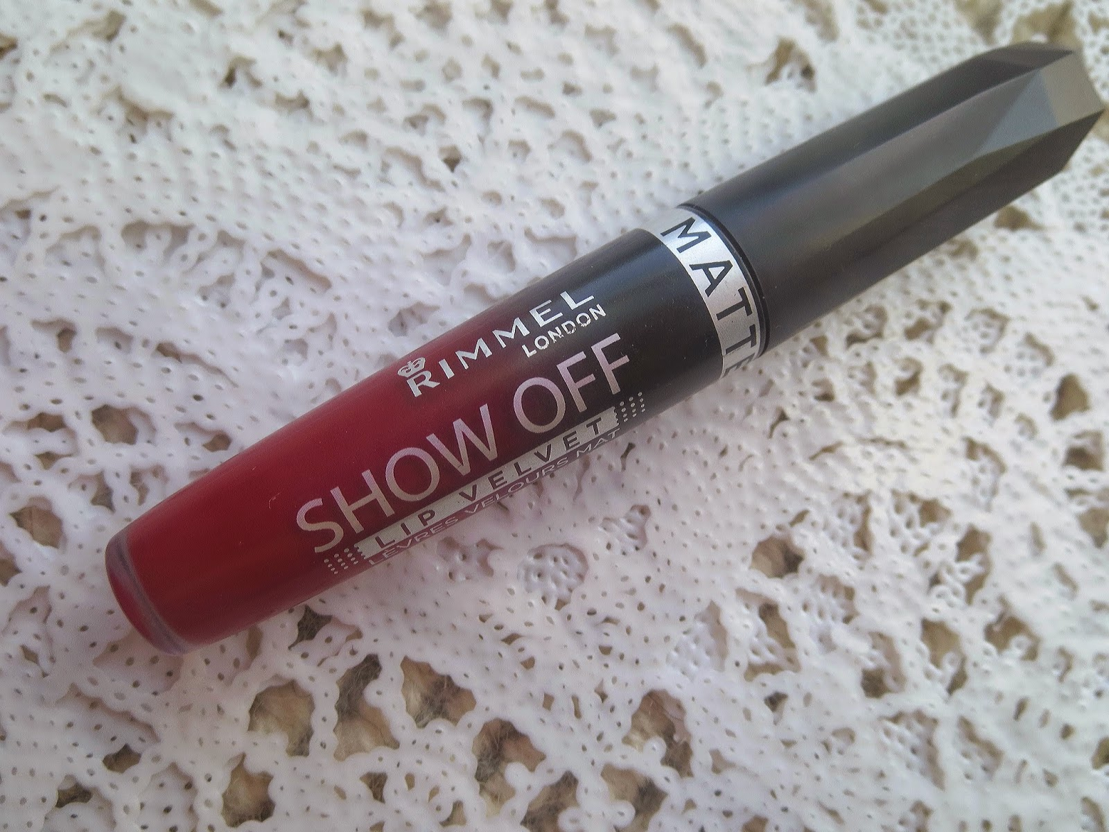 a picture of Rimmel Show Off Matte Lip Velvet in Burning Lava