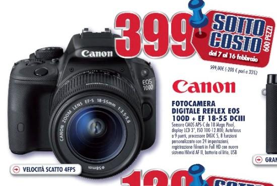 Sottocosto fotocamera reflex Canon EOS 100D 18 55 prezzo bomba nel ...