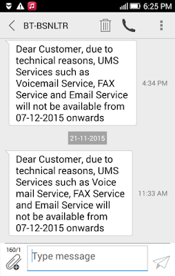 BSNL to shutdown Unified Messaging Services such as Voice Mail Service, FAX Service and Email Service from 7th December 2015 onwards