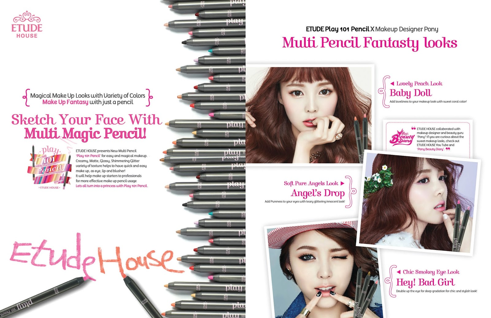 Etude House Play 101 Pencils matte, cream, glossy, glitter, shimmery, finish