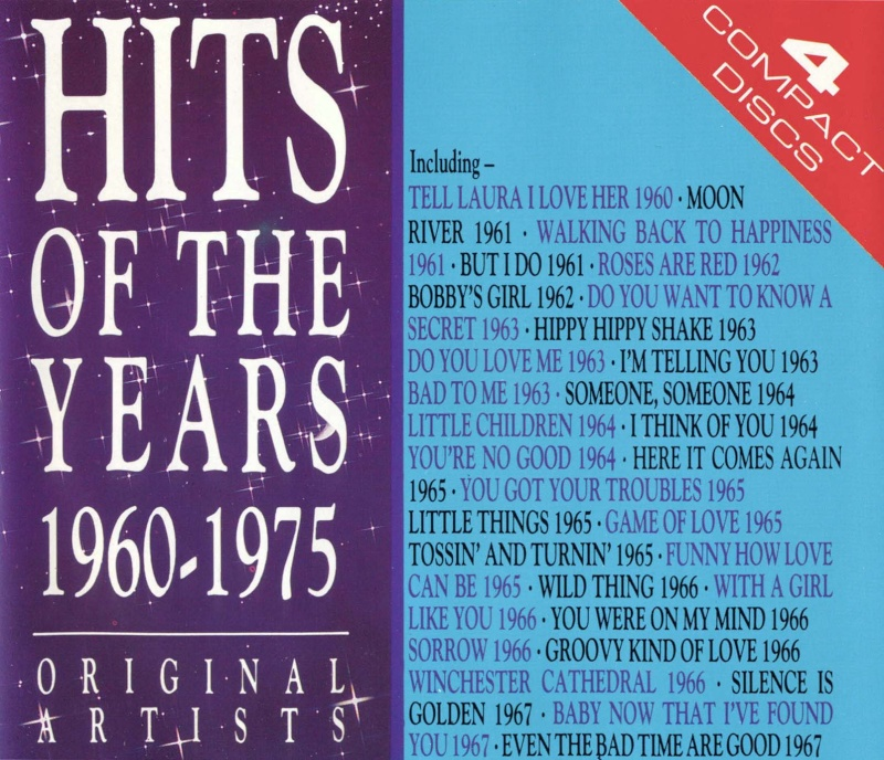 Hits of the years 1960 1975 4 cd 1988 60 39 s 70 39 s rock for 1988 hit songs