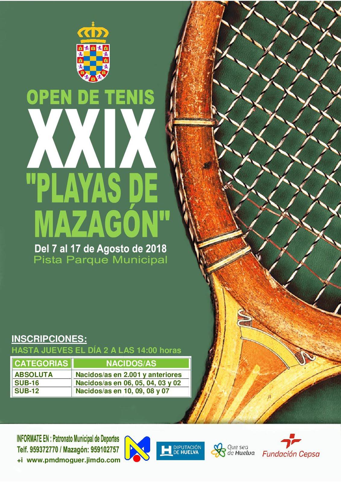 "XXIX OPEN DE TENIS ""PLAYAS DE MAZAGÓN"""